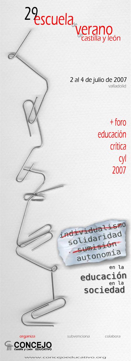 Cartel de la 29 Escuela de Verano  de Castilla y León (2007)